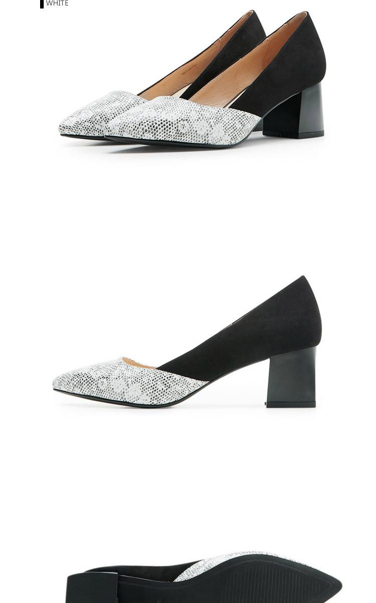 经典法式黑白拼接喇叭中粗跟尖头单鞋