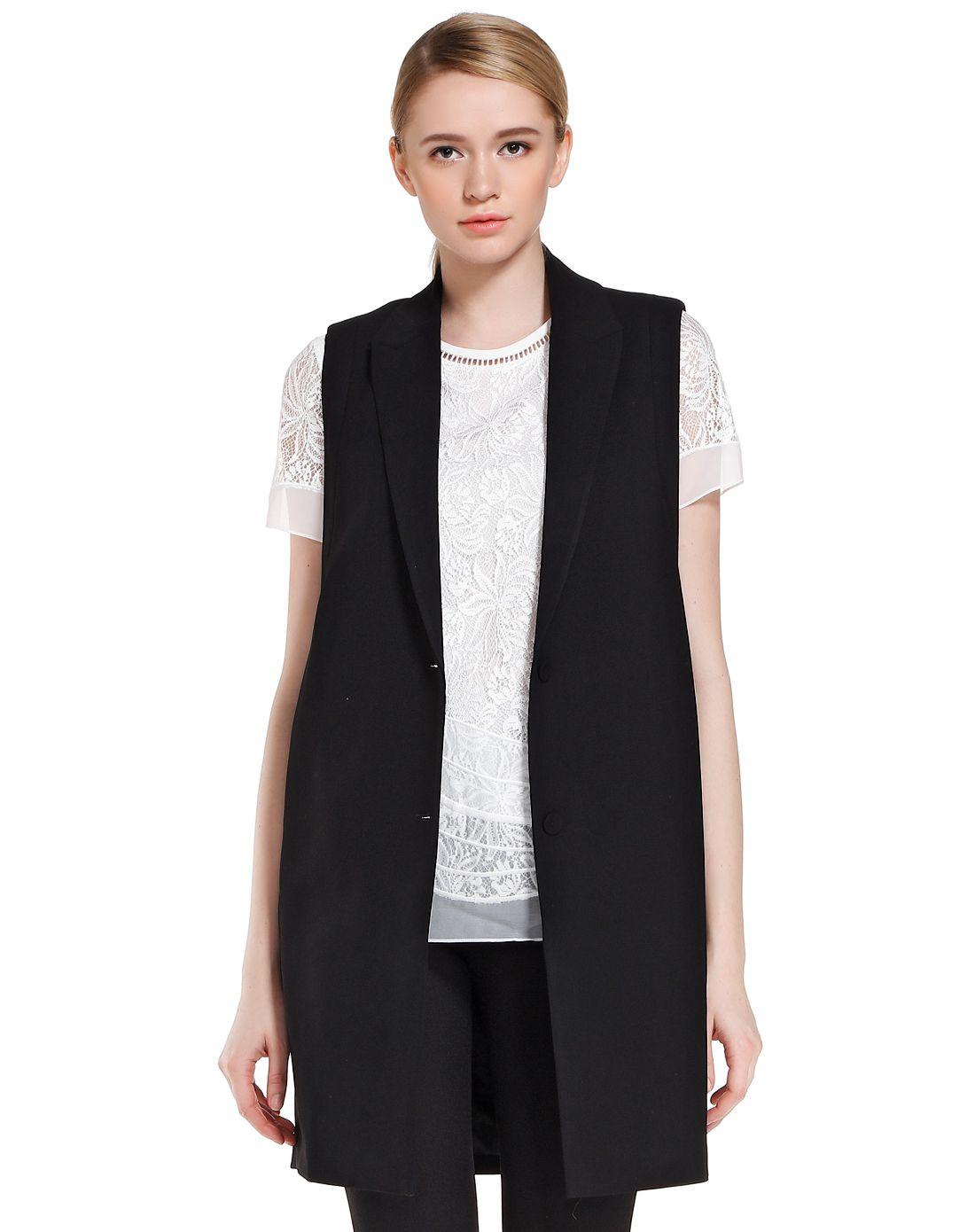 音儿黑色时尚简约无袖外套