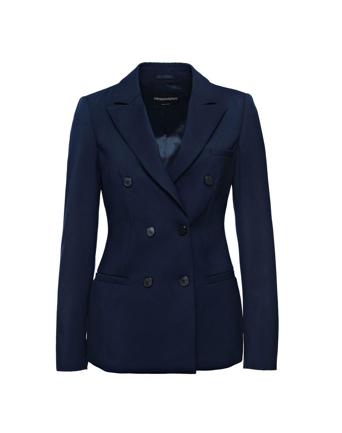 emporio armani女款藏蓝色双排扣西装外套