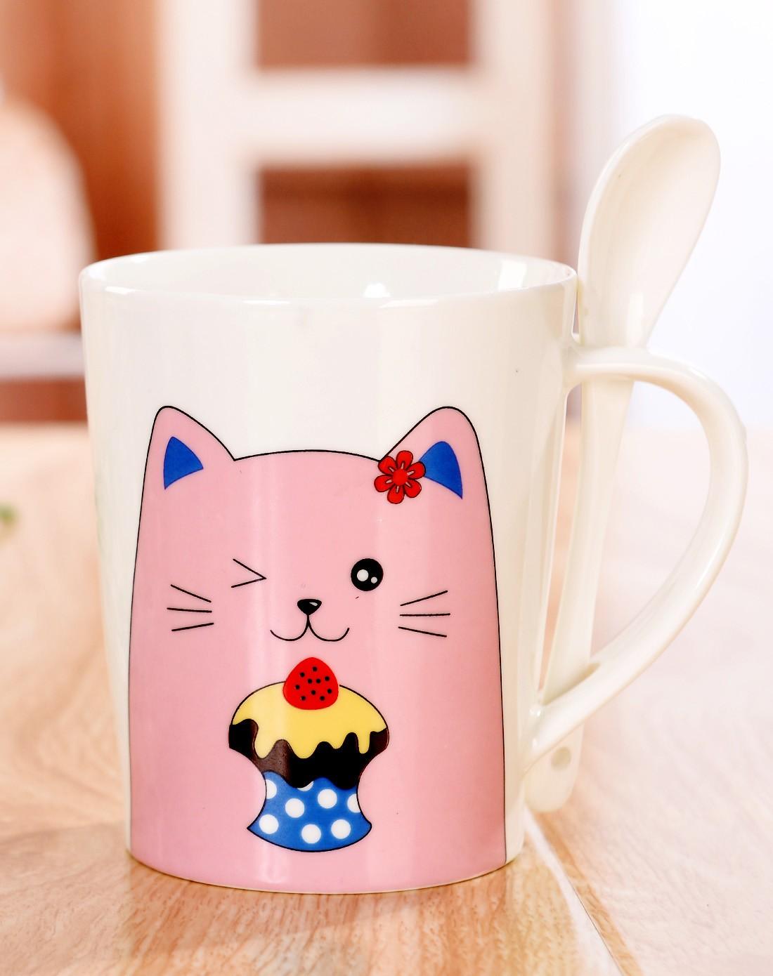 快乐小动物 带勺杯 粉色蛋糕猫