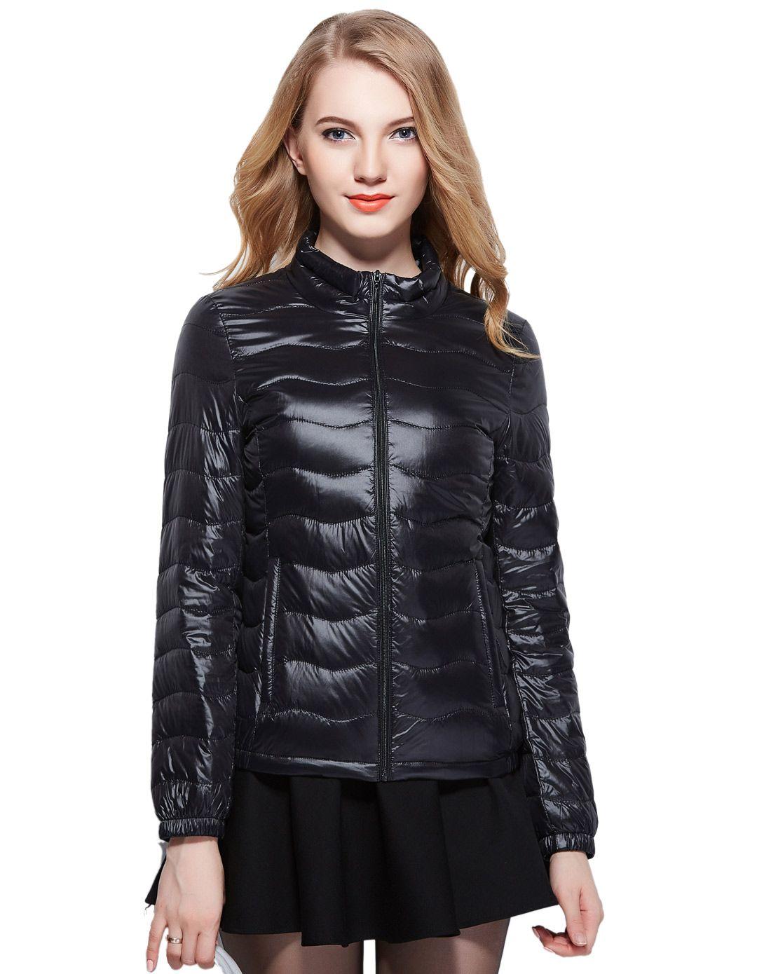 【2015塑料】雅鹿女首饰羽绒短款羽绒服新品黑色袋时尚图片