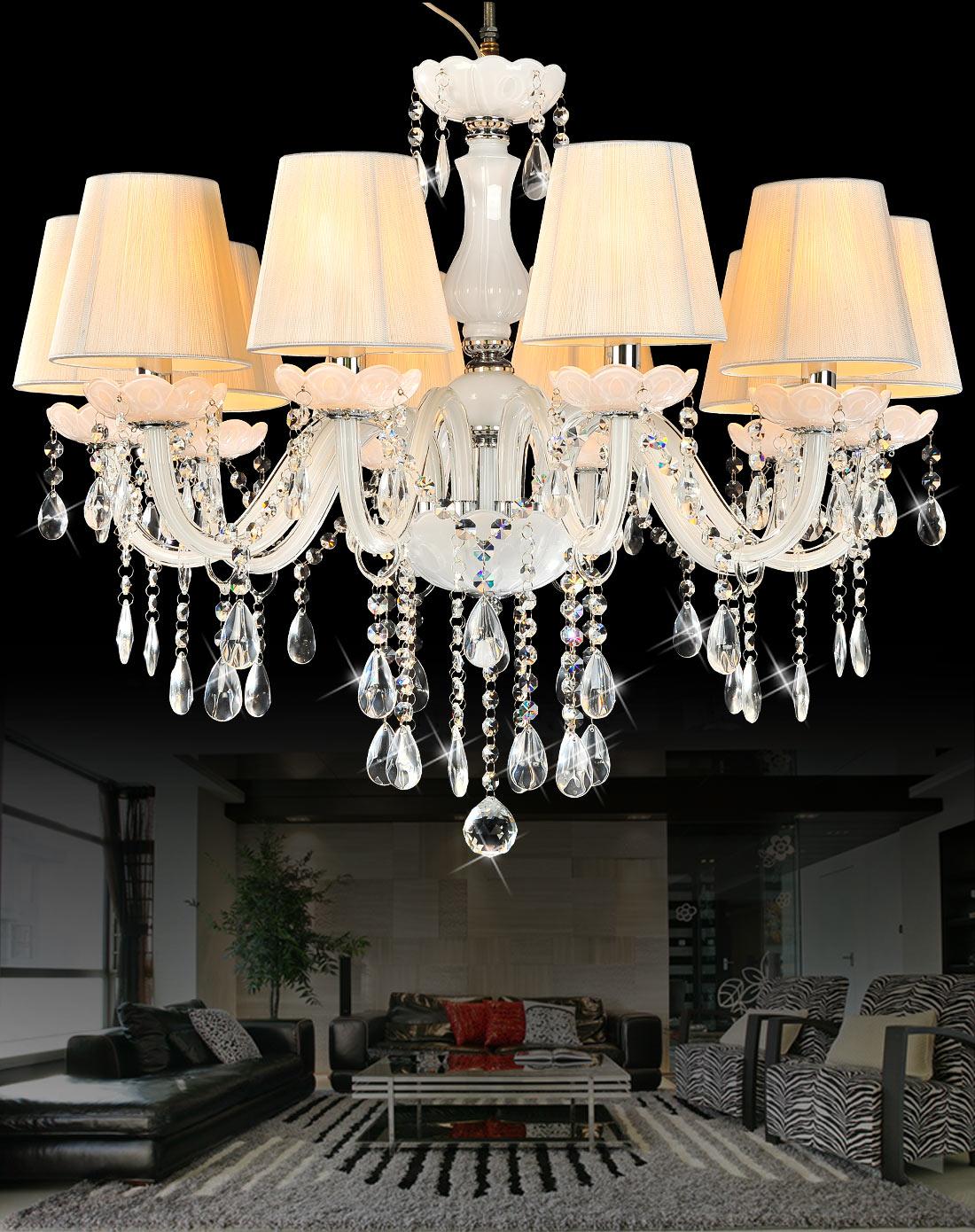 10头白色水晶吊灯 欧式客厅吊灯
