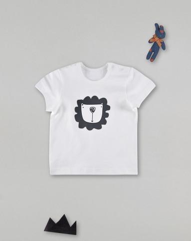 白色小狮子短袖t恤