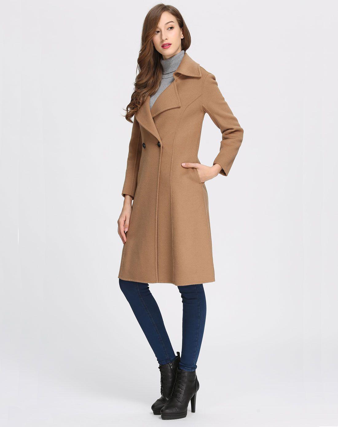 时尚优雅长款双面呢大衣