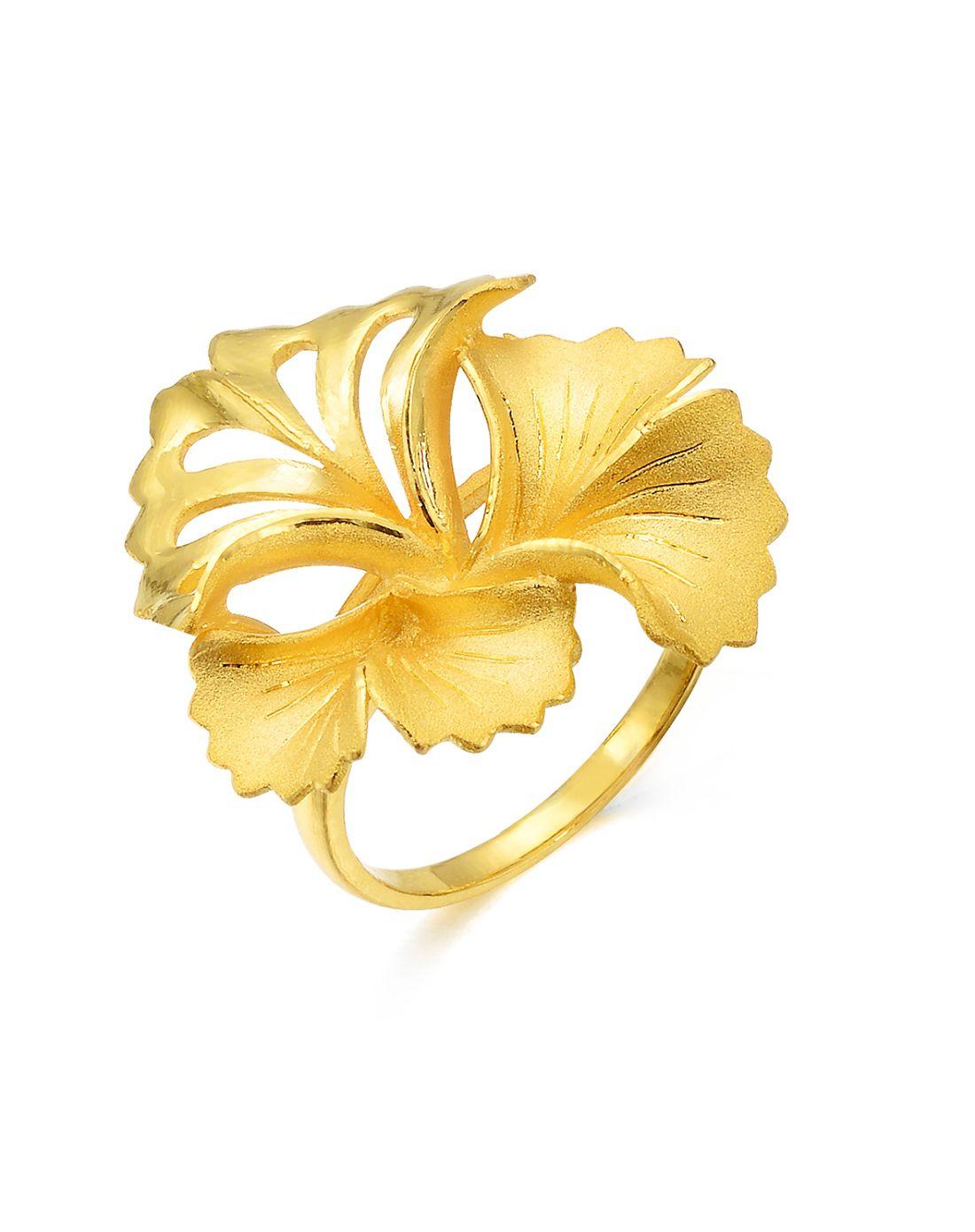 足金银杏叶婚嫁套装戒指图片