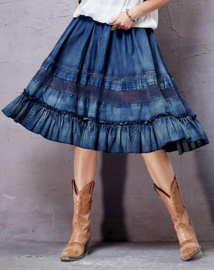 狂生記秋裝牛仔風層疊褶皺荷葉邊半身裙圖片
