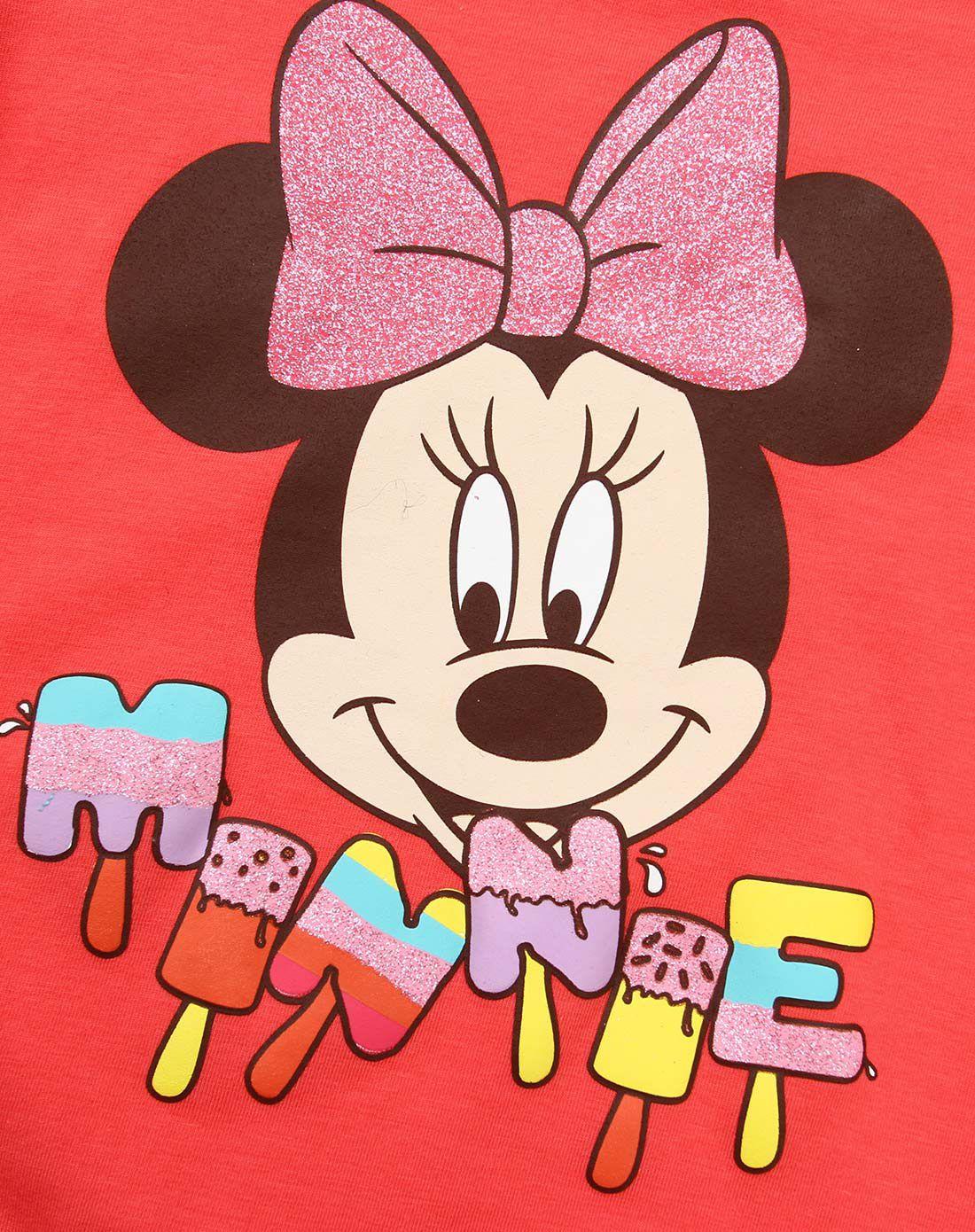 米奇米妮-女童桃红色卡通t恤