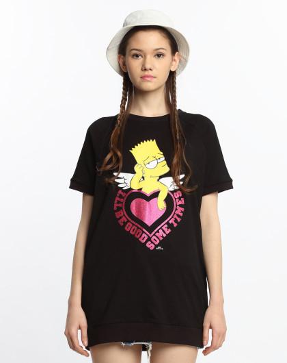 the simpsons辛普森联名系列 女款辛普森图案短袖t恤黑色