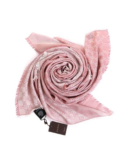 GUCCI 女士羊毛加丝绸 经典LOGO印花围巾