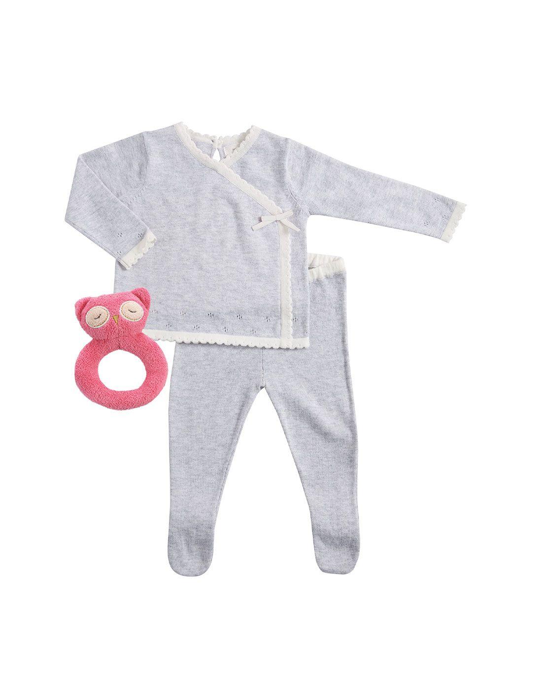 Angel Dear挑孔细节和服式毛衣上衣连脚裤套装灰色和粉色猫头鹰摇铃