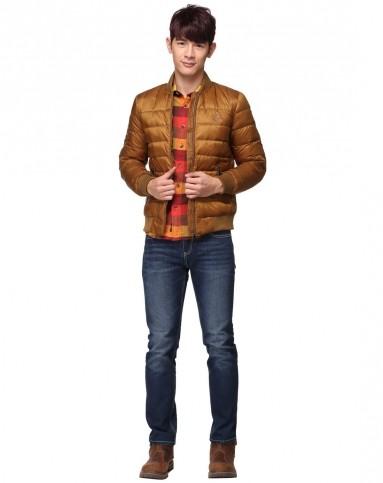 男装金色油光布薄羽绒外套