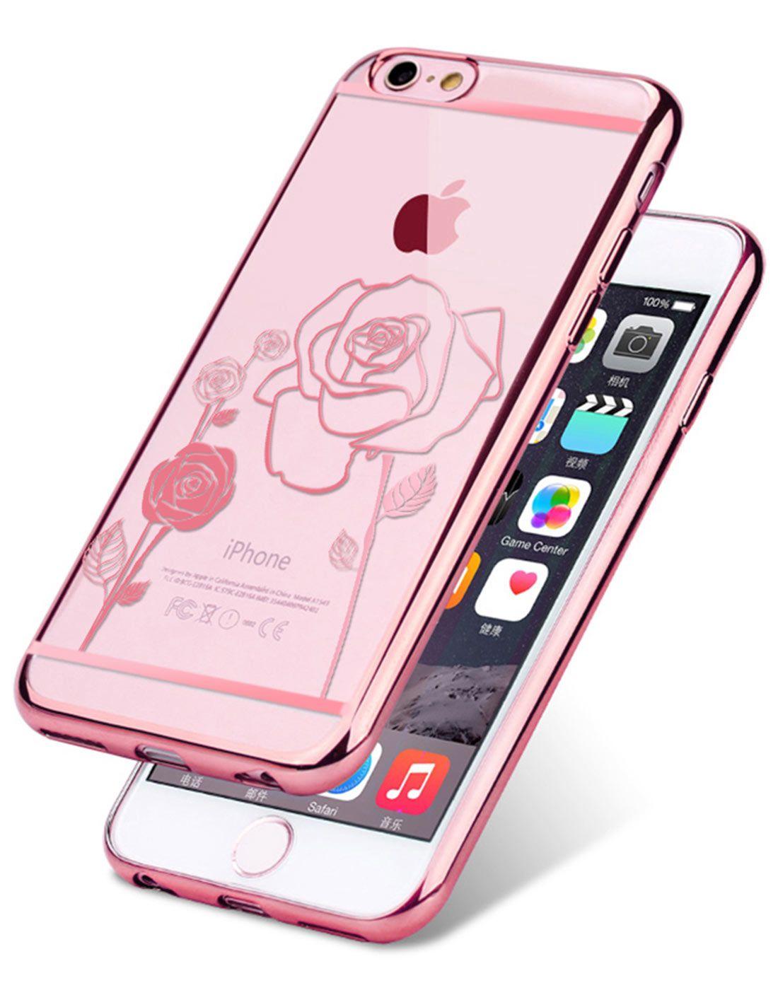 苹果i6/6splus电镀硅胶手机壳 盛放玫瑰
