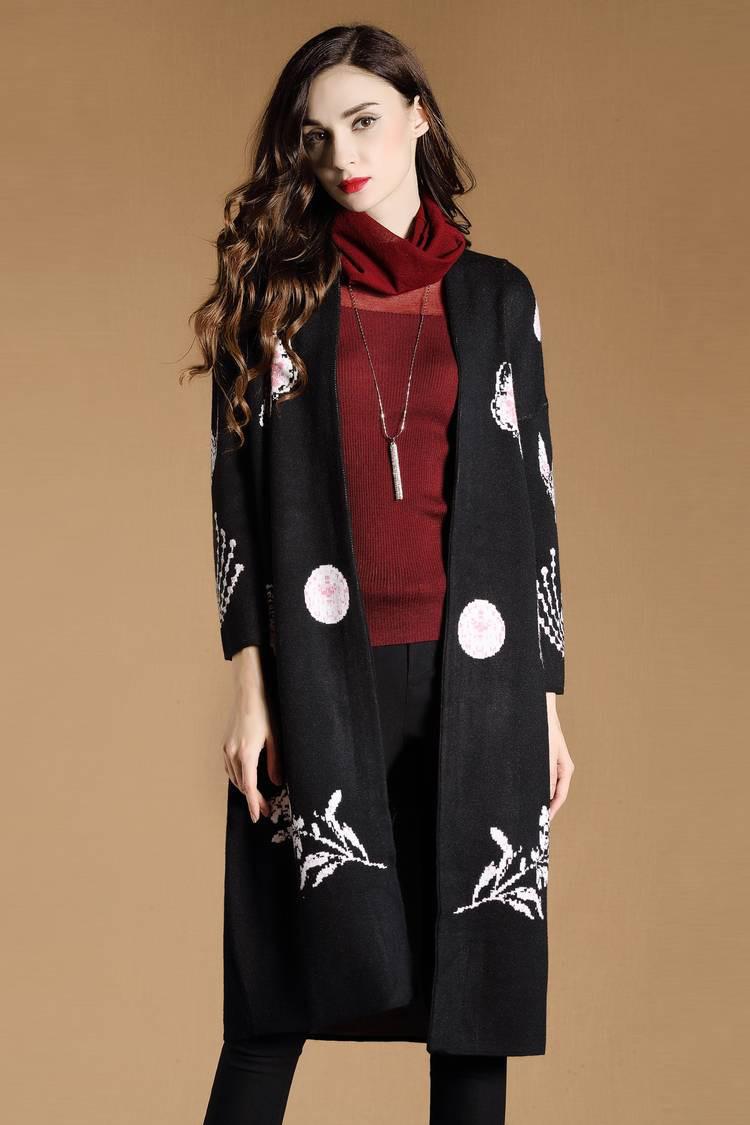 时尚潮流长袖长款针织外套