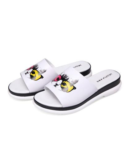 白色牛皮鞋面可爱猫头图案简约凉拖