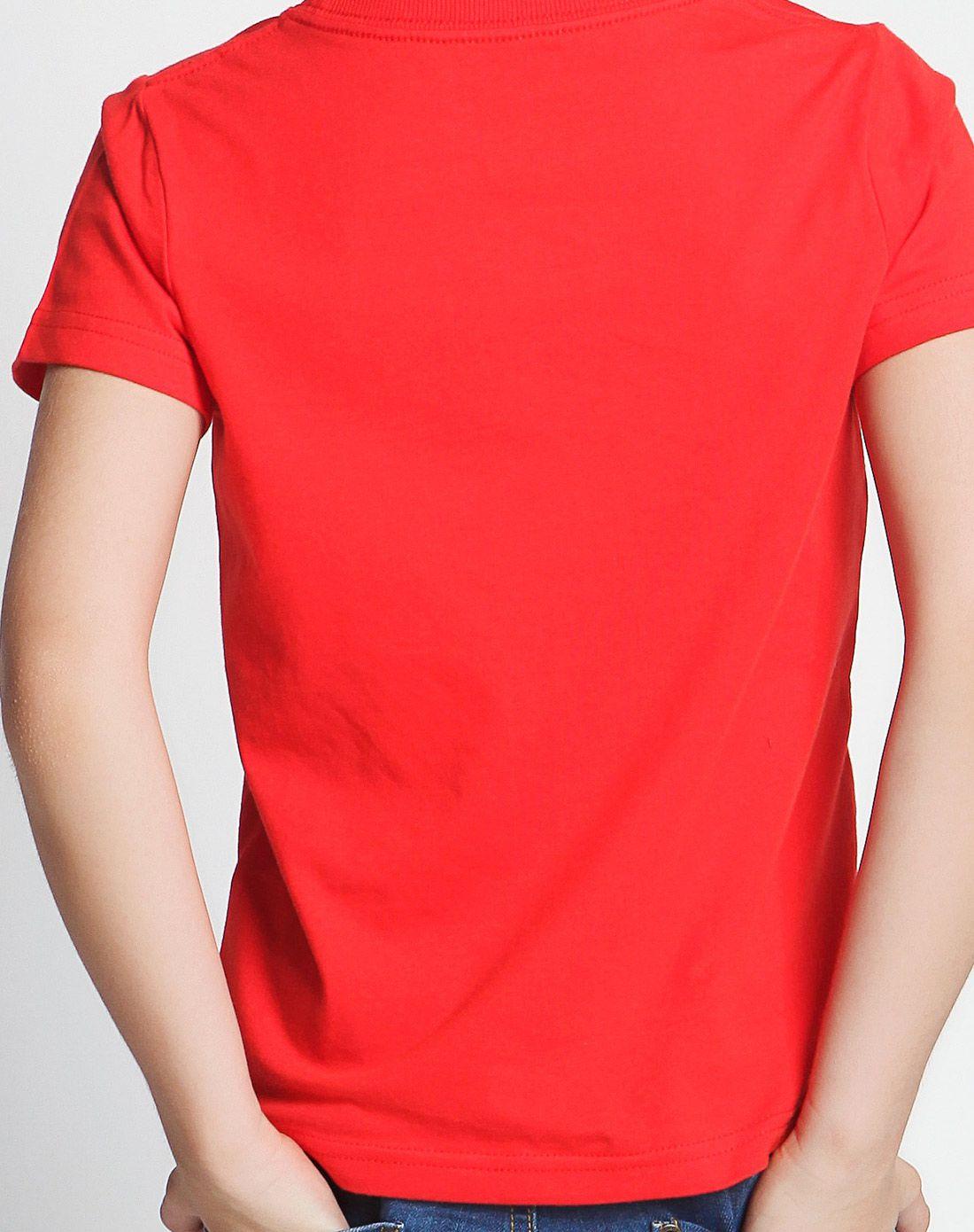 男童大红色短袖t恤