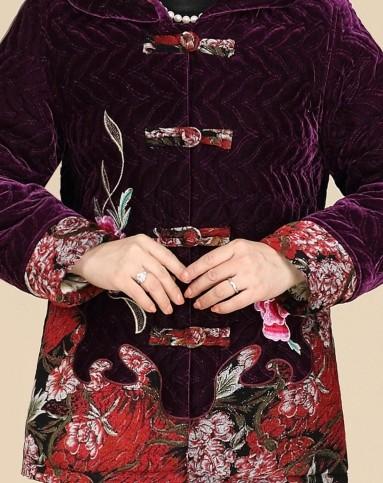 紫色牡丹花丝绒唐装棉衣