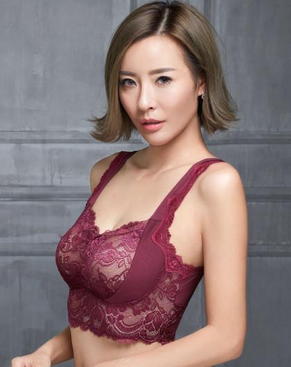 mmuses缪诗内衣专场挪威森林红紫色绣花蕾丝无钢圈41p