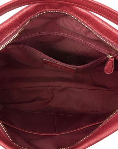 > coach女士酒红色手提包