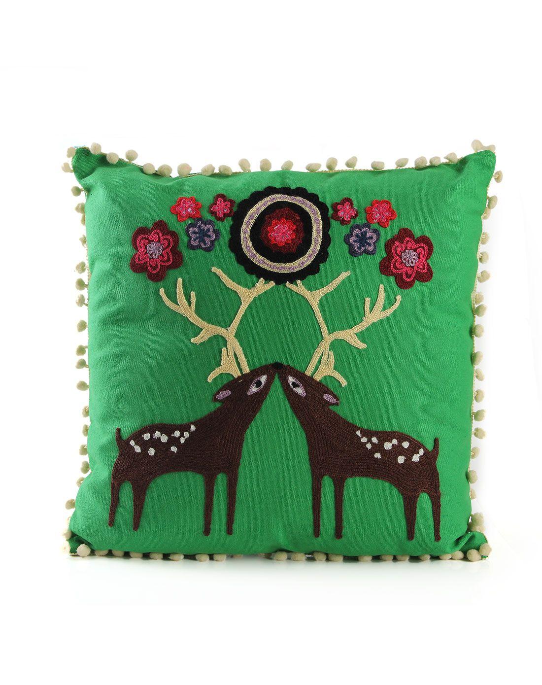可立特 mati毛线动物图案刺绣抱枕 绿色