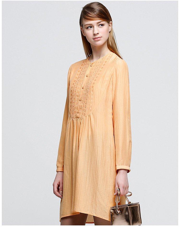 刺绣长袖连衣裙图片