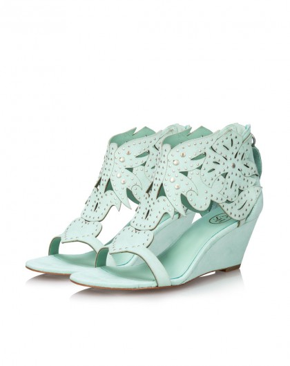ash 铆钉花纹坡跟凉鞋绿色