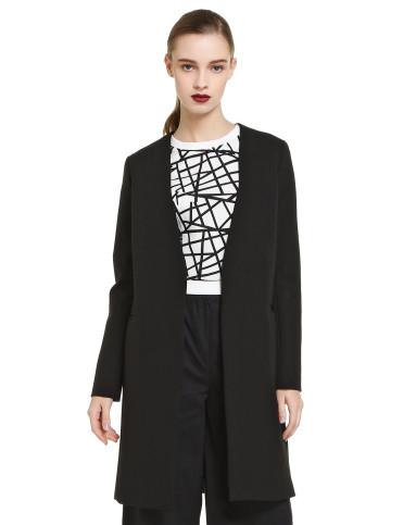 黑色简约设计无领长款外套