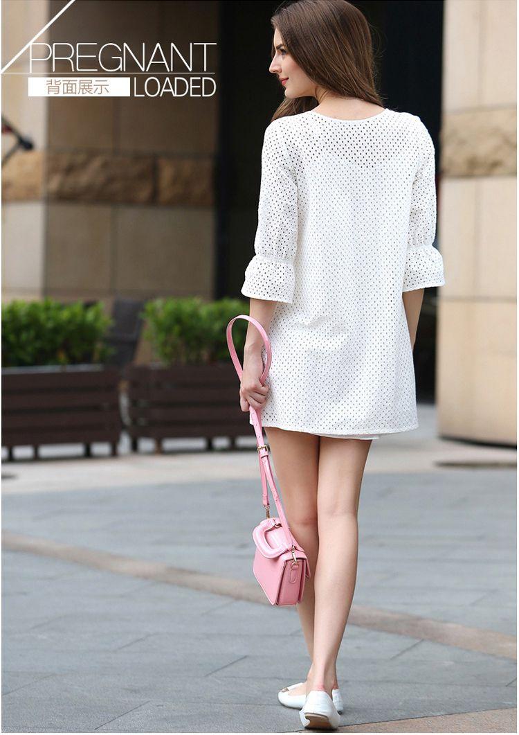 孕妇��.�yd�an:/���y.b_兔妈孕妇装专场孕妇白色两件套镂空裙tm20000b_唯品会