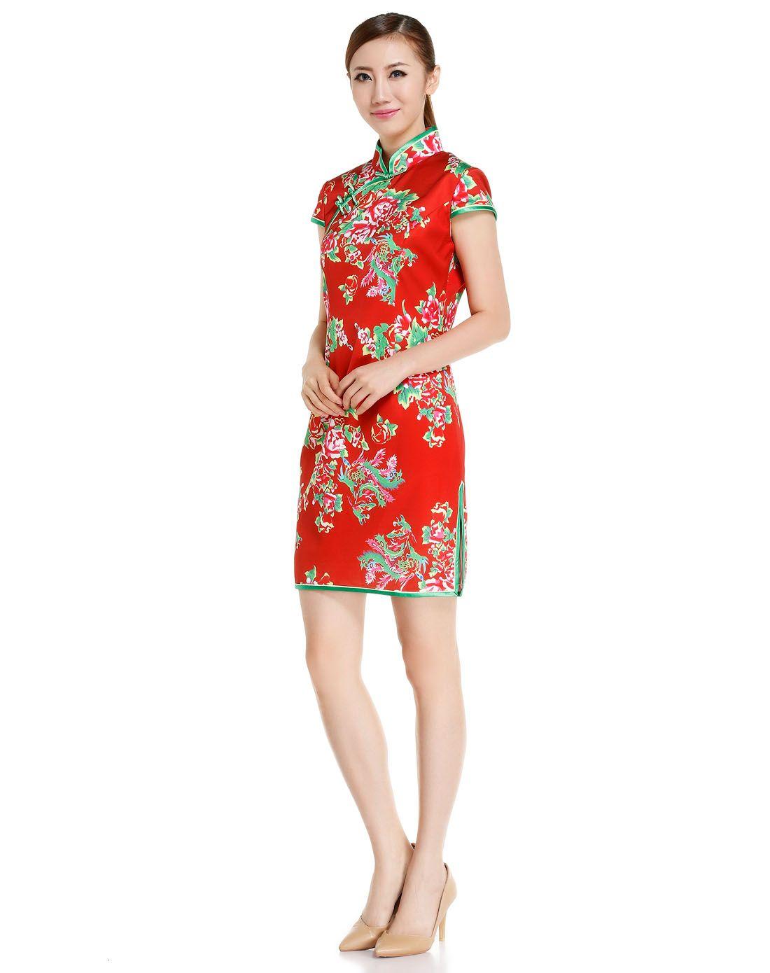 红色大红花盖肩袖旗袍