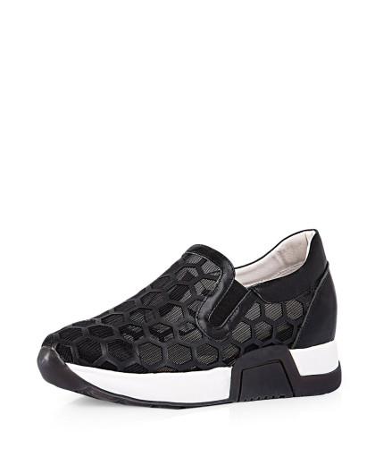 哈森harson集团品牌女鞋弗洛斯16年新款黑色牛皮革/网图片