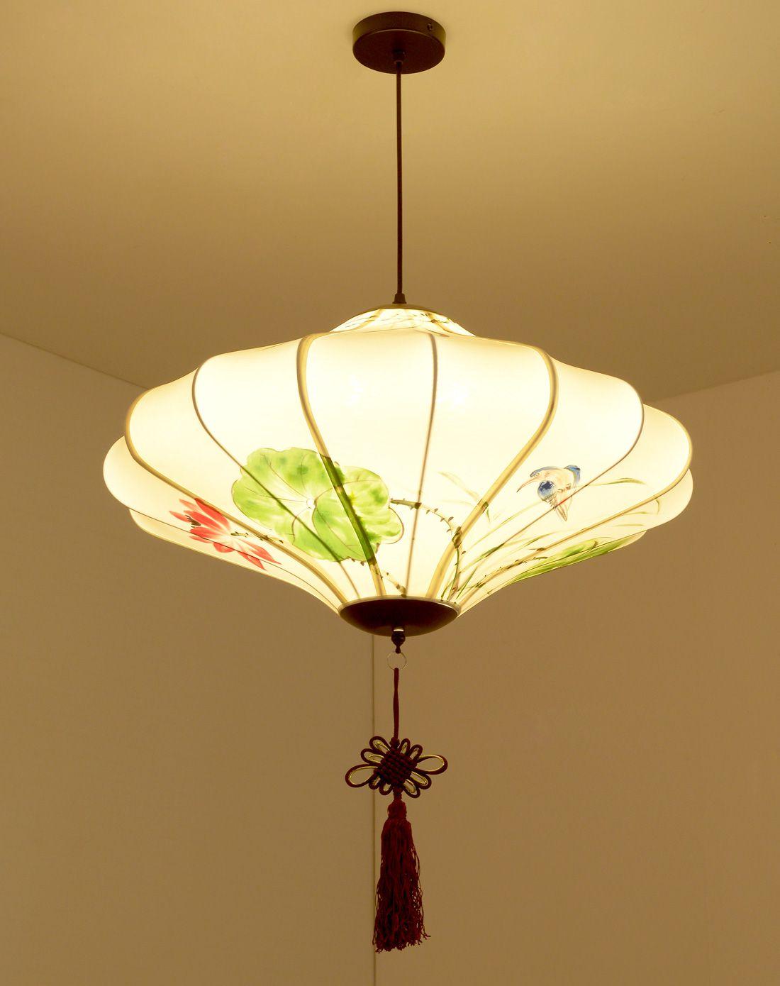 新中式手绘圆形吊灯图片