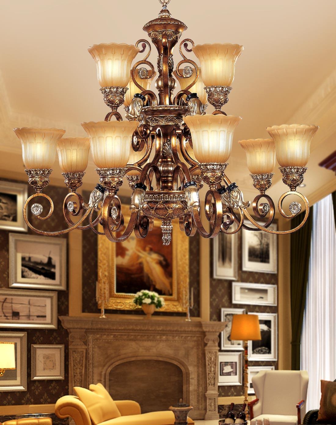 8+4头欧式吊灯 复古 客厅大吊灯图片