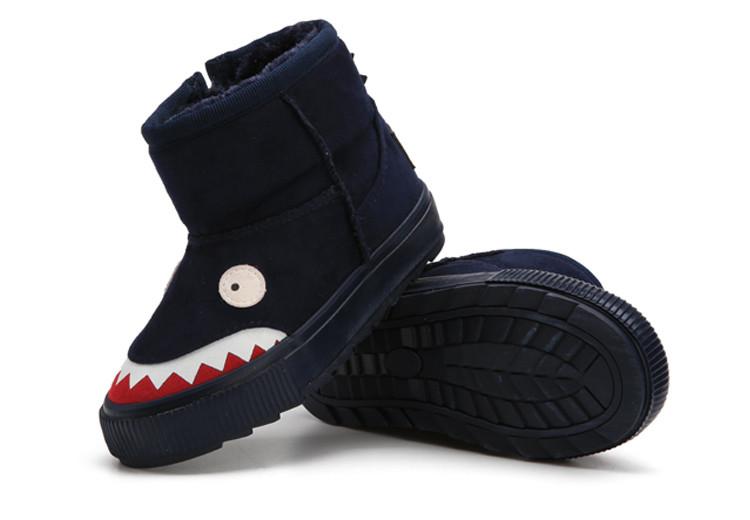 男女童黑色加厚保暖小怪兽雪地靴棉鞋(侧拉链)(偏大半码)