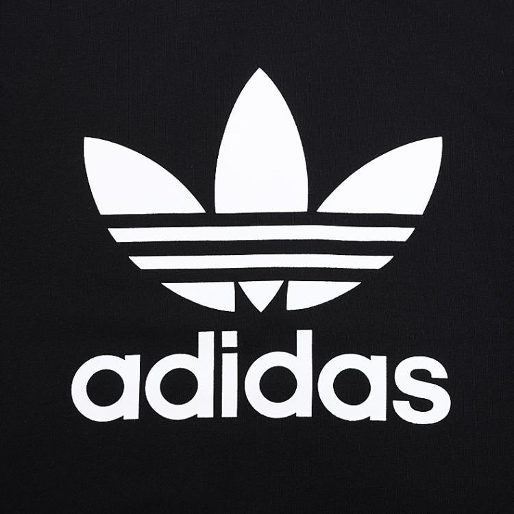 adidas 三叶草新潮鞋服专场logo印图 女款黑色运动bk图片