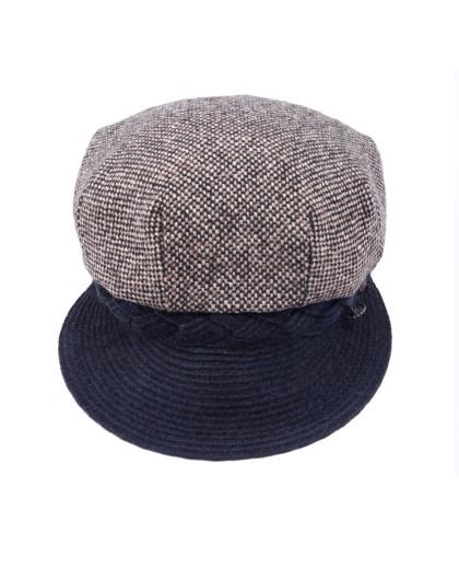 编织沿三钮八角帽