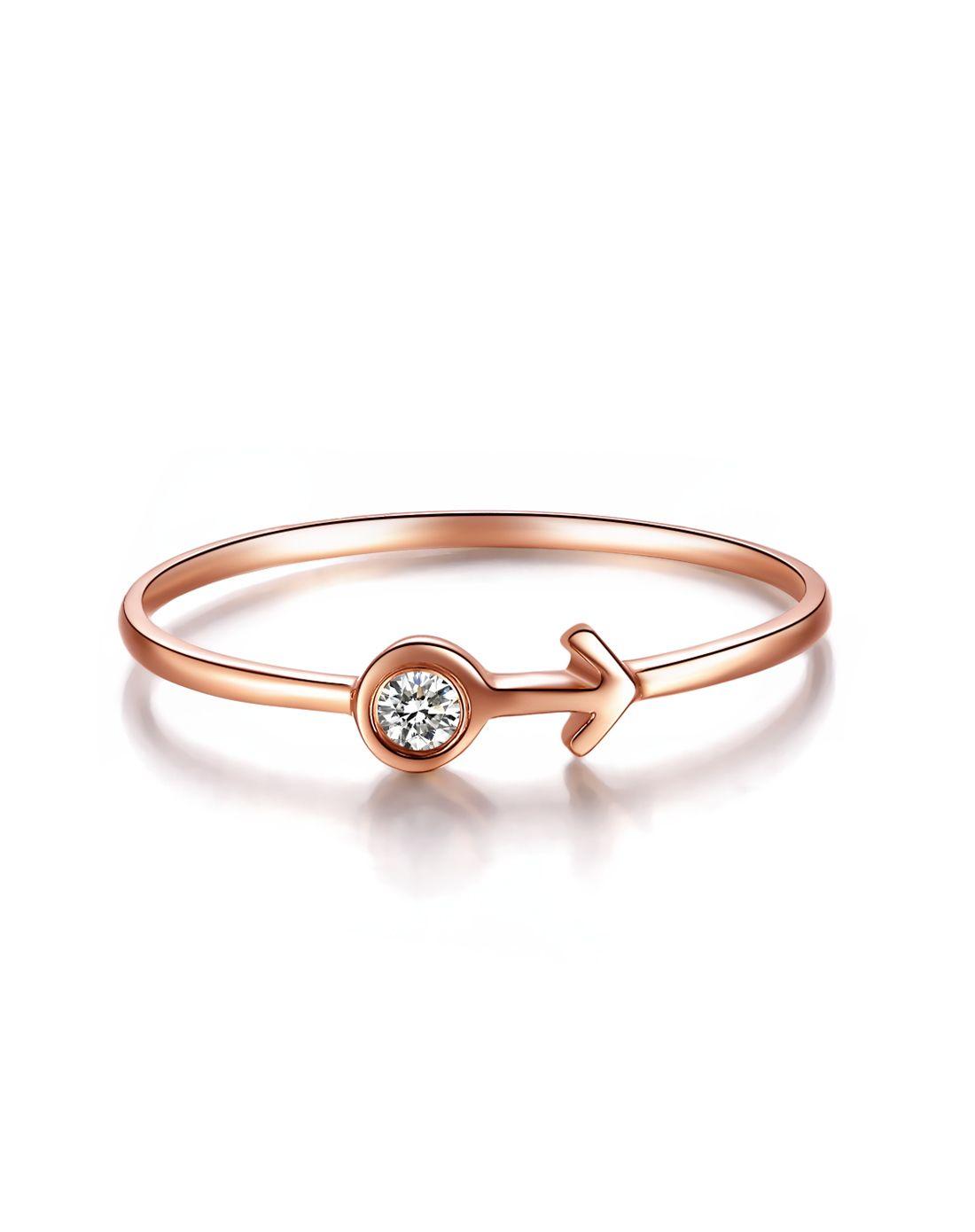18k玫瑰金钻石戒指 情侣符号