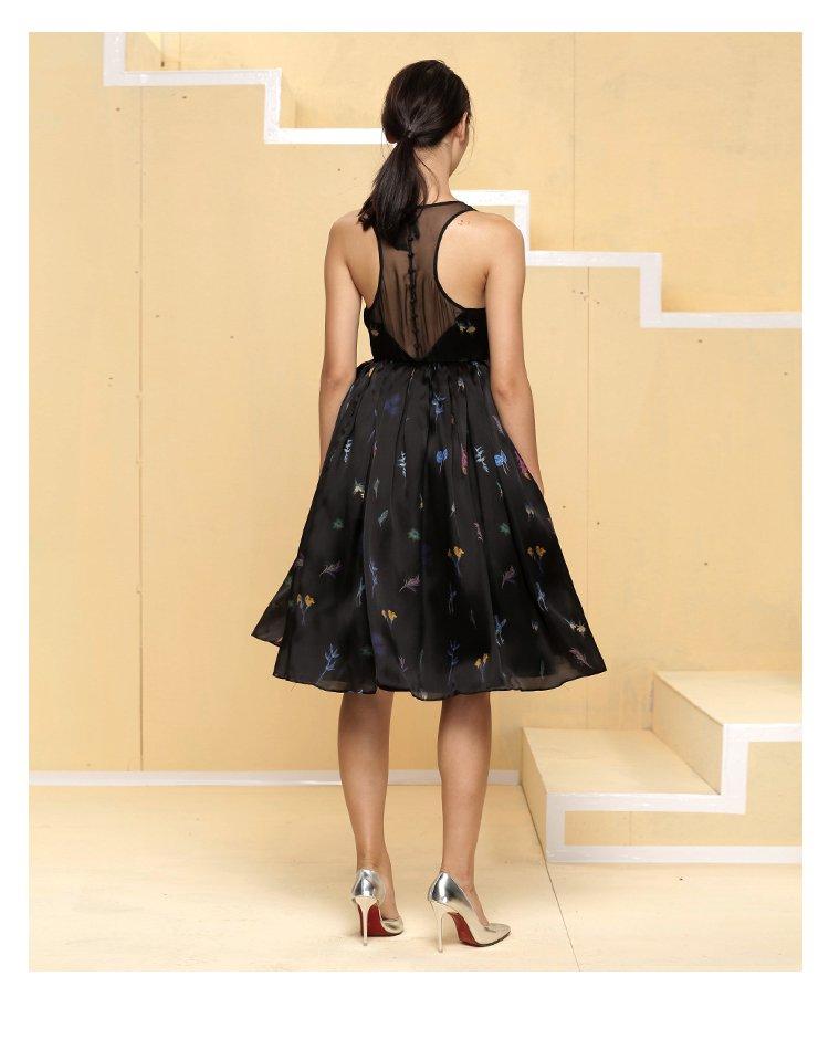 女士植物印花中长款礼服裙