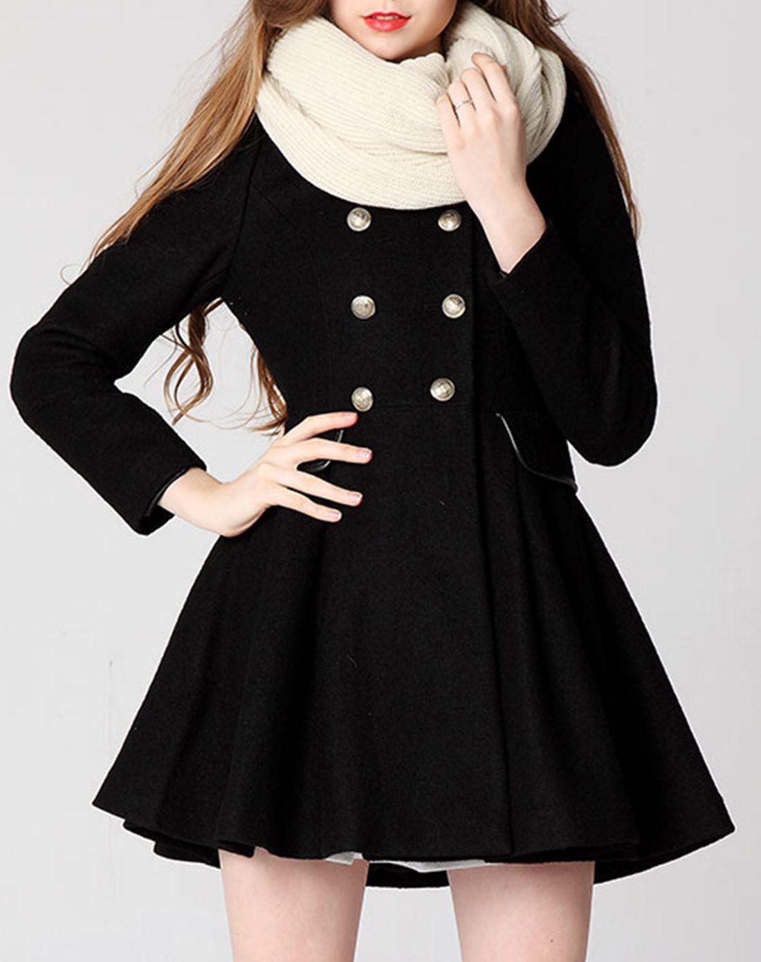 > 女黑色大衣
