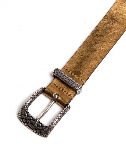 just cavalli男款金色蛇皮纹扣皮带