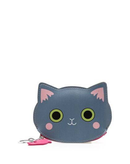 2016新款 蓝色可爱小猫咪零钱包