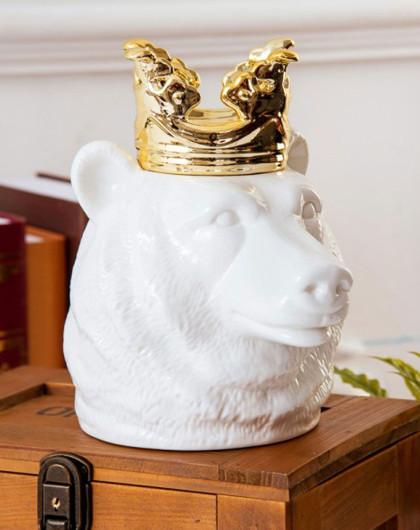 imm living 戴王冠的动物首饰收纳罐 熊
