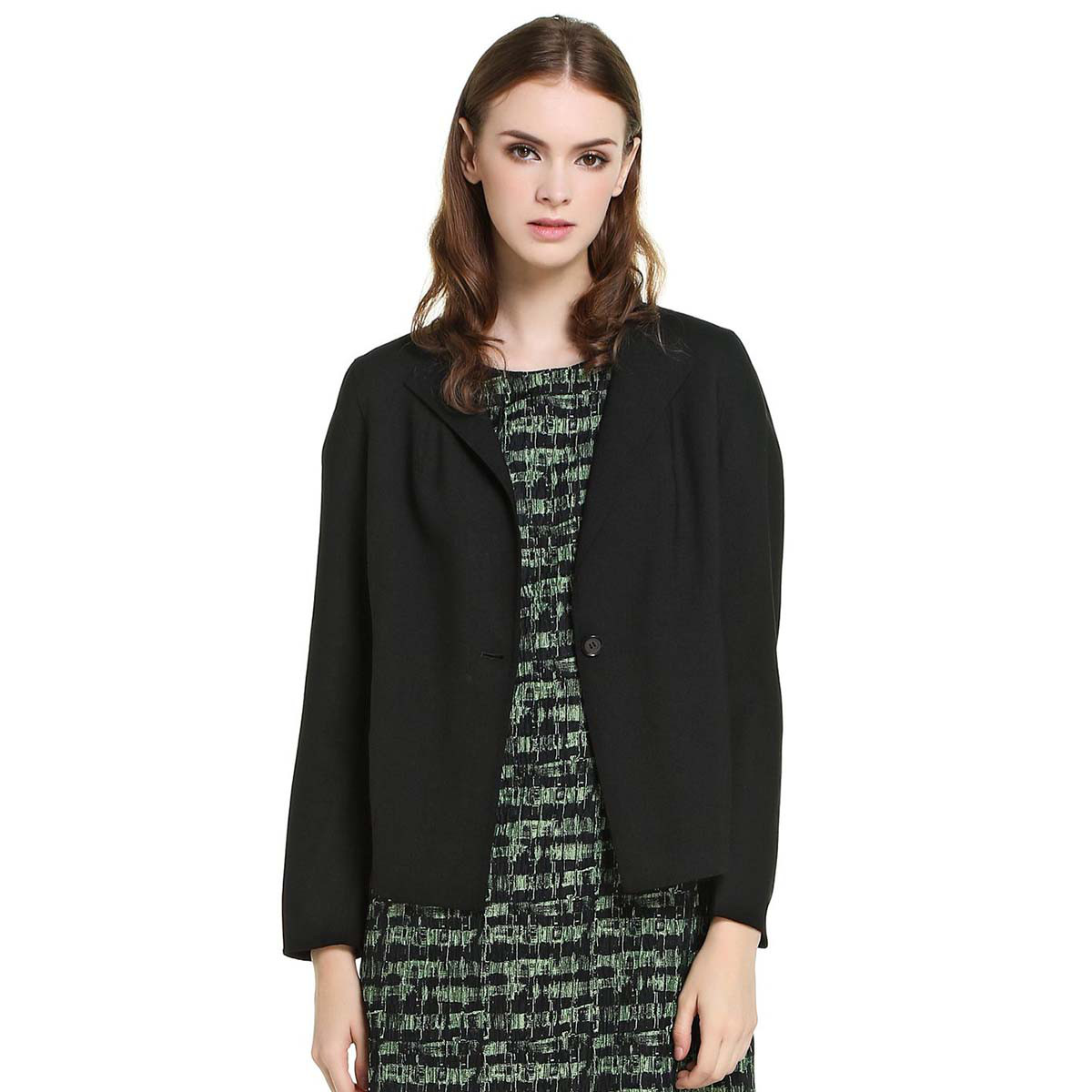 ANTEPRIMAANTEPRIMA女款短款羊毛长袖薄外套NW14S6411100NERO