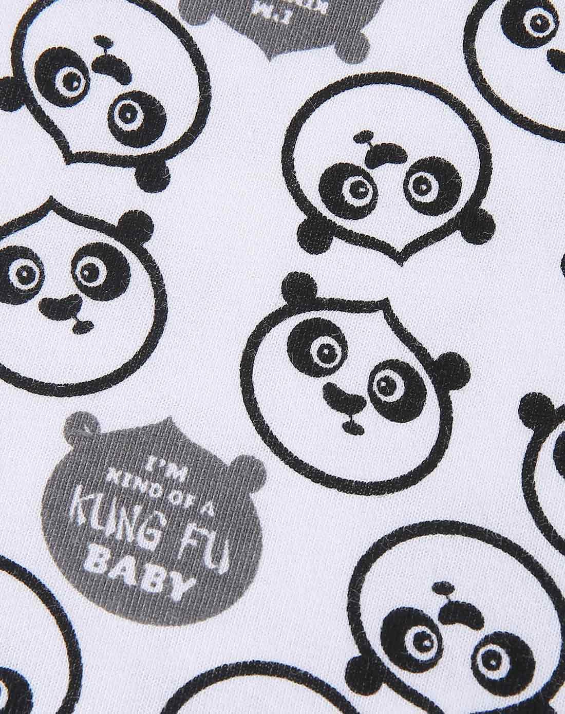 成人款白底印花(女款)熊猫大侠亲子圆领短袖t恤