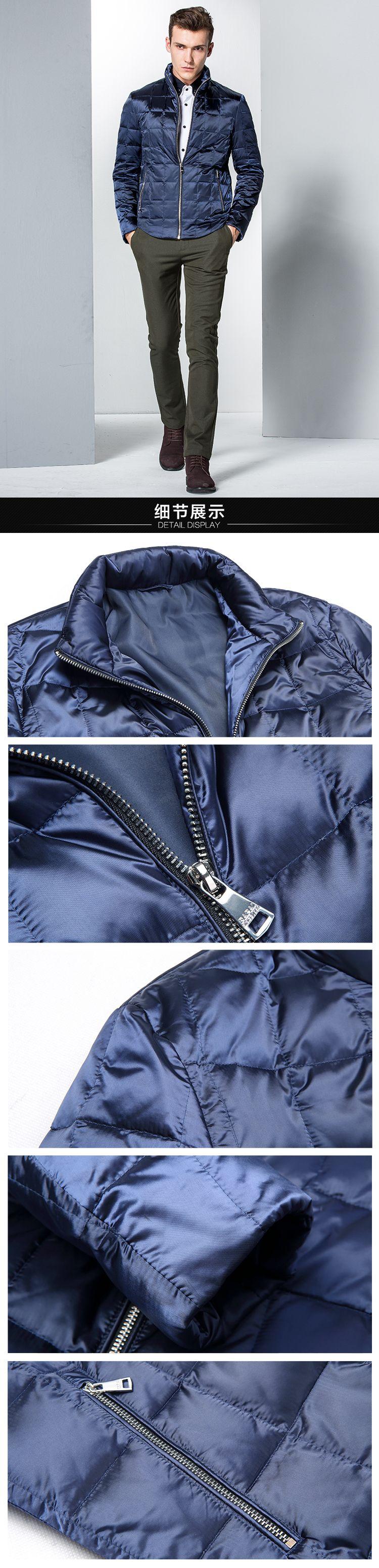 深蓝色保暖时尚长袖羽绒服 商品分类: 男式羽绒服 产地: 中国 材质
