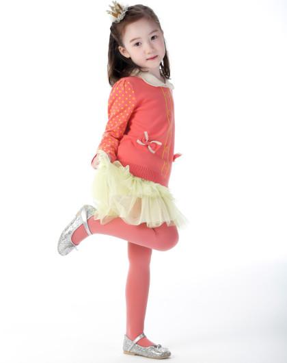 女童嫩黄色清新可爱公主风蛋糕纱裙