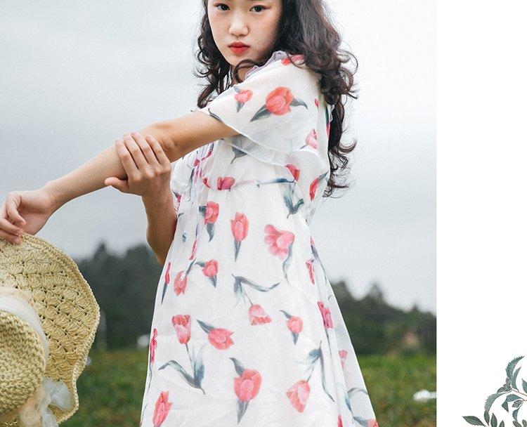 北冥有渔原创 森系文艺复古郁金香印花连衣裙