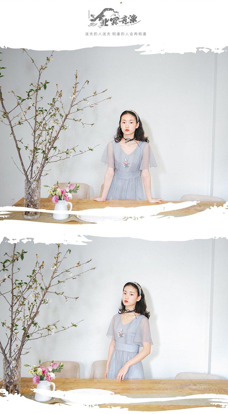 北冥有渔原创森系文艺复古铃兰绣花连衣裙夏季v领双层气质中长裙