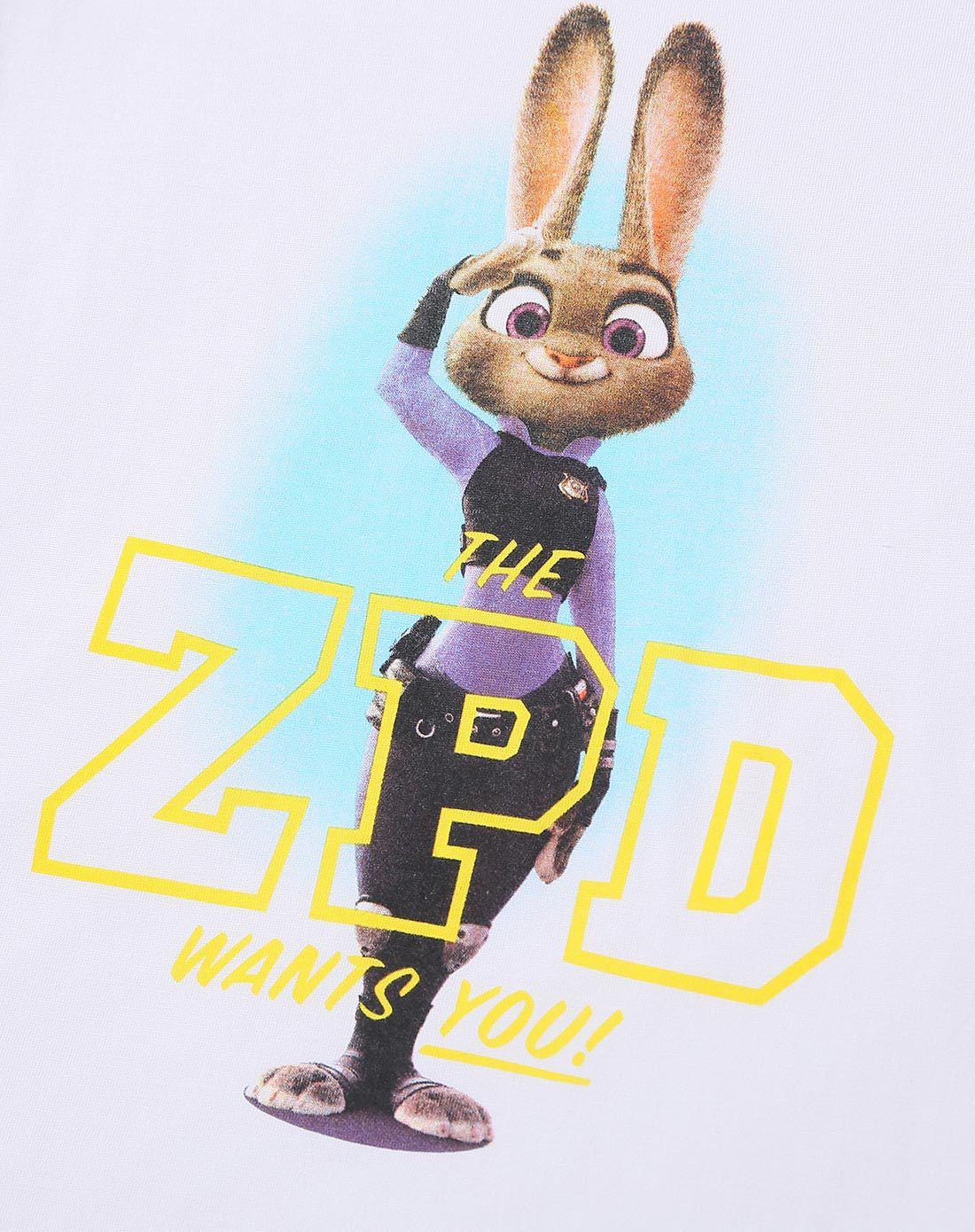 疯狂动物城-男性白色兔子亲子装t恤(爸爸款)