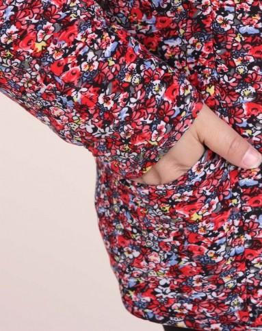 女款花色圆领保暖棉衣