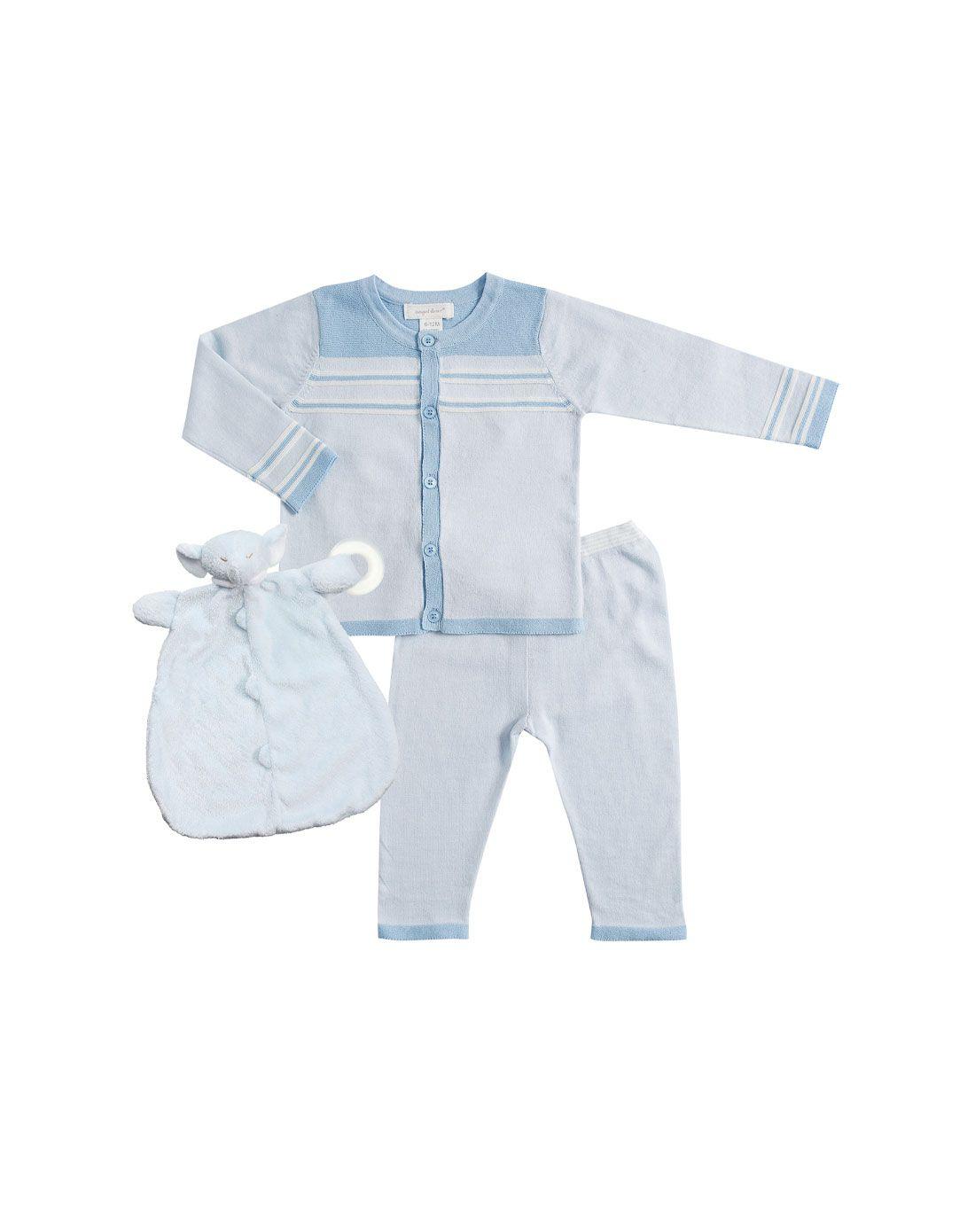 Angel Dear细针毛衣开衫裤子套装蓝色和蓝色大象牙胶