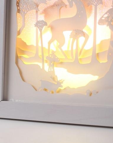 (紫色麋鹿)立体风景纸雕装饰画小夜灯